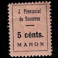 Sellos: CL2-572 GUERRA CIVIL - MAHON - JUNTA PROVINCIAL DE SOCORROS FESOFI Nº 4 VALOR 5 CENTS COLOR NEGRO S.. Lote 284782558