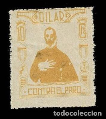 0062 GUERRA CIVIL DILAR CONTRA EL PARO EL CABALLERO CON LA MANO EN EL PECHO, DE EL GRECO FESOFI Nº 3 (Sellos - España - Guerra Civil - Locales - Nuevos)