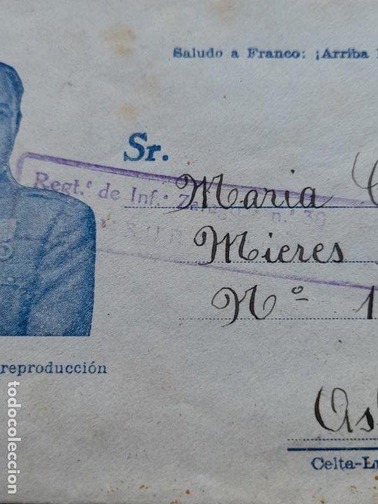 Sellos: Sobre circulado Regimiento de Infantería de Zaragoza. Franco - Foto 2 - 285101683