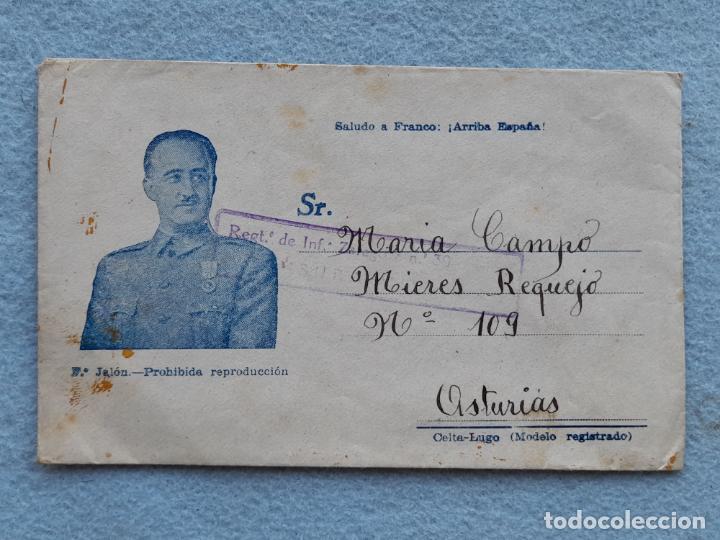 SOBRE CIRCULADO REGIMIENTO DE INFANTERÍA DE ZARAGOZA. FRANCO (Sellos - España - Guerra Civil - De 1.936 a 1.939 - Cartas)