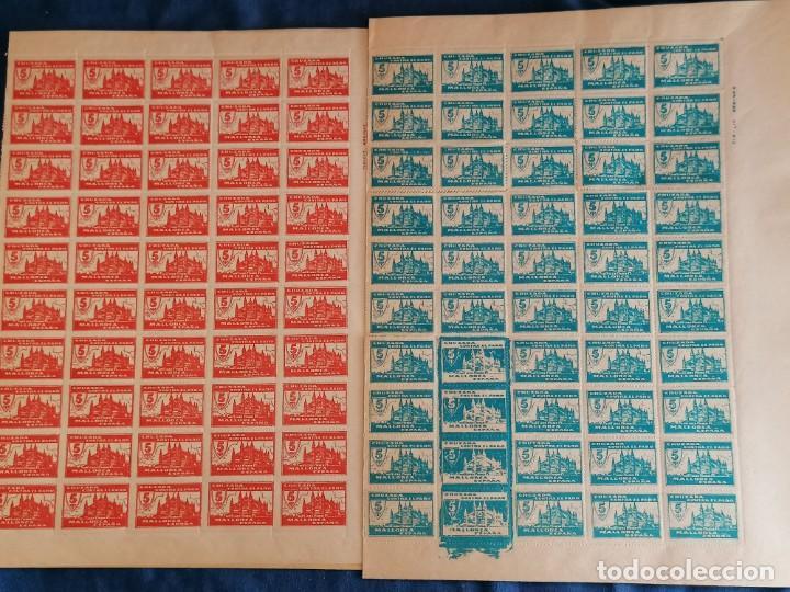 ESPAÑA LOTE 200 SELLOS VIÑETAS MALLORCA GUERRA CIVIL VIÑETA CAT. AFINET Nº 27/27N,29 HOJAS COMPLETAS (Sellos - España - Guerra Civil - Viñetas - Nuevos)