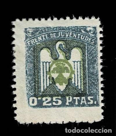 0227 GUERRA CIVIL - FRENTE DE JUVENTUDES - VALOR 0,25 PTAS COLOR VERDE OSCURO T.TFI (Sellos - España - Guerra Civil - Viñetas - Nuevos)