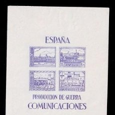 Sellos: 0036 GUERRA CIVIL PEGO PRODUCCION DE GUERRA COMUNICACIONES FESOFI HB Nº 3 SIN GOMA. Lote 285679653