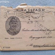 Sellos: SOBRE CIRCULADO EXMO. GENERAL FRANCO. 8 DE JULIO DE 1938. MIERES. ASTURIAS.. Lote 285742428