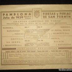 Sellos: SOBRE FIESTAS Y FERIAS DE SAN FERMÍN JULIO DE 1939. CENSURA MILITAR PAMPLONA. EUGUI HERMANOS.. Lote 286196923