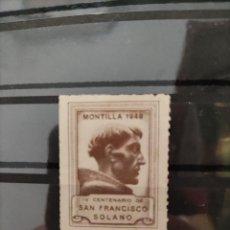 Francobolli: VIÑETA IV CENTENARIO S. FRANCISCO SOLANO MONTILLA 1949. SIN FIJASELLOS. Lote 286832838