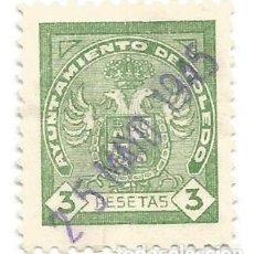 Sellos: AYUNTAMIENTO DE TOLEDO 3 PESETAS. SELLO MUNICIPAL.. Lote 286836648