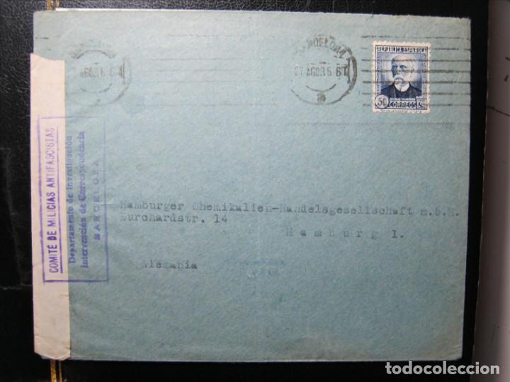COMITÉ MILICIAS ANTIFASCISTAS CARTA BARCELONA-HAMBURGO 27/AGOSTO/1936!!! (Sellos - España - Guerra Civil - De 1.936 a 1.939 - Cartas)