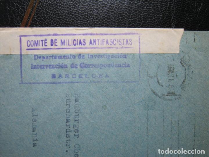 Sellos: COMITÉ MILICIAS ANTIFASCISTAS CARTA BARCELONA-HAMBURGO 27/AGOSTO/1936!!! - Foto 2 - 287103063