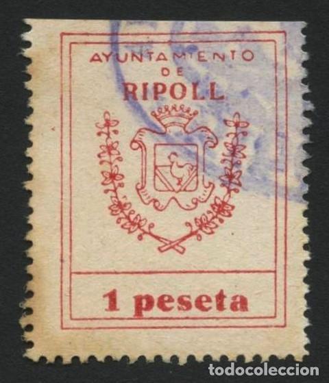 VIÑETA, FISCAL, SELLO MUNICIPAL, AYUNTAMIENTO DE RIPOLL, VALOR: 1 PESETA (Sellos - España - Guerra Civil - Locales - Usados)