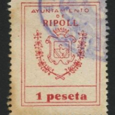 Sellos: VIÑETA, FISCAL, SELLO MUNICIPAL, AYUNTAMIENTO DE RIPOLL, VALOR: 1 PESETA. Lote 287234783