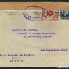 Sellos: GUERRA CIVIL, VIÑETA, SOBRE, CIRCULADO DESDE ALICANTE A LONDRES, 1937. Lote 287255373