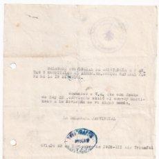 Sellos: TELEGRAMA. DELEGADA FRENTES Y HOSPITALES. OVIEDO, ASTURIAS, 1938. AL GENERAL MÚGICA. Lote 287382828