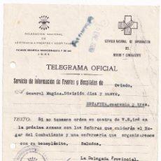 Sellos: TELEGRAMA. FRENTES Y HOSPITALES. OVIEDO, ASTURIAS. 1939. AL GENERAL MÚGICA. Lote 287383198