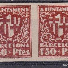 Selos: BB25- AYUNTAMIENTO BARCELONA PAREJA SIN DENTAR ESCUDO CIUDAD 1.50 PTES (*) SIN GOMA LUJO. Lote 287412028