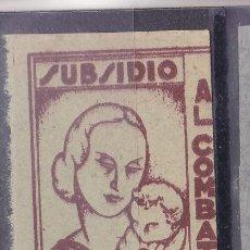 Selos: BB28- GUERRA CIVIL SUBSIDIO COMBATIENTE ASTURIAS CASTAÑO S/ AMARILLO (*) SIN GOMA. Lote 287425303