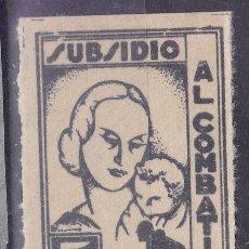 Selos: BB28- GUERRA CIVIL SUBSIDIO COMBATIENTE ASTURIAS NEGRO PAPEL GRUESO (*) SIN GOMA. Lote 287425988