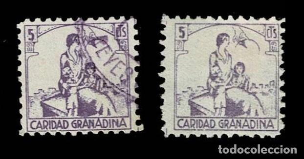 CL8-14 GUERRA CIVIL GRANADA (CARIDAD GRANADINA) FESOFI Nº 20 PAREJA VALOR 5 CTS COLOR VIOLETA Y VAR (Sellos - España - Guerra Civil - Locales - Usados)