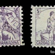 Sellos: CL8-14 GUERRA CIVIL GRANADA (CARIDAD GRANADINA) FESOFI Nº 20 PAREJA VALOR 5 CTS COLOR VIOLETA Y VAR. Lote 287461963
