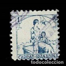 Sellos: CL8-14 GUERRA CIVIL GRANADA (CARIDAD GRANADINA) FESOFI Nº 24 VALOR 1 PTS COLOR AZUL USADO 0. Lote 287465248