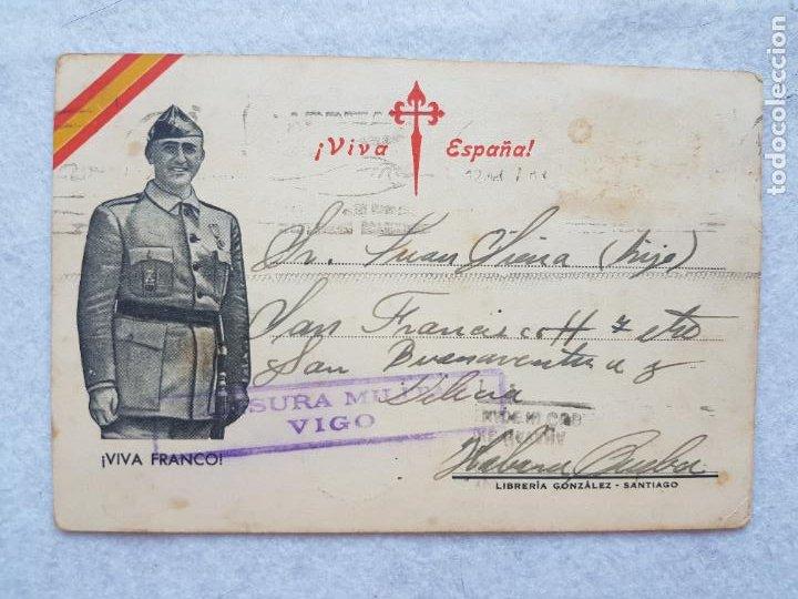 CENSURA MILITAR VIGO VIVA ESPAÑA FRANCO GUERRA CIVIL PARA CUBA (Sellos - España - Guerra Civil - De 1.936 a 1.939 - Cartas)