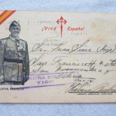 Sellos: CENSURA MILITAR VIGO VIVA ESPAÑA FRANCO GUERRA CIVIL PARA CUBA. Lote 287545898