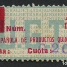 Sellos: GUERRA CIVIL, VIÑETA, FEDERACIÓN ESPAÑOLA DE PRODUCTOS QUÍMICOS, 1936, 1937, VALOR: 20 CTS.. Lote 287600113
