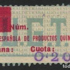 Sellos: GUERRA CIVIL, VIÑETA, FEDERACIÓN ESPAÑOLA DE PRODUCTOS QUÍMICOS, 1937, VALOR: 20 CTS.. Lote 287600528