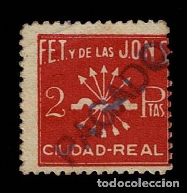 CL8-4 GUERRA CIVIL CIUDAD REAL FALANGE ESPAÑOLA FESOFI Nº 8 VALOR 2 PTAS COLOR GRANATE USADO (Sellos - España - Guerra Civil - Locales - Usados)
