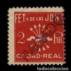 Sellos: CL8-4 GUERRA CIVIL CIUDAD REAL FALANGE ESPAÑOLA FESOFI Nº 8 VALOR 2 PTAS COLOR GRANATE USADO. Lote 287658538