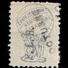 Timbres: CL8-9 GUERRA CIVIL CONFEDERACION REGIONAL CATALUÑA G. GUILLAMON Nº1932 SIN VALOR COLOR AZUL GRIS CON. Lote 287676638