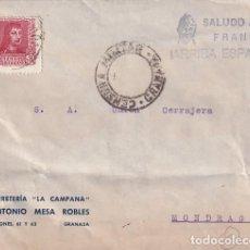 Sellos: SOBRE SALUDO A FRANCO ARRIBA ESPAÑA. FERRETERÍA LA CAMPANA, ANTONIO MESA ROBLES. GRANADA. Lote 287688308