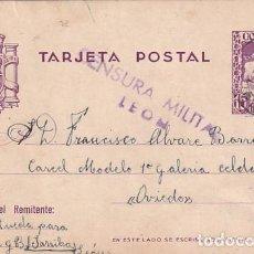 Sellos: ENTERO POSTAL CON CENSURA MILITAR LEON. ENVIADA A LA CÁRCEL MODELO DE OVIEDO. 18/ 09 1937. Lote 287698818