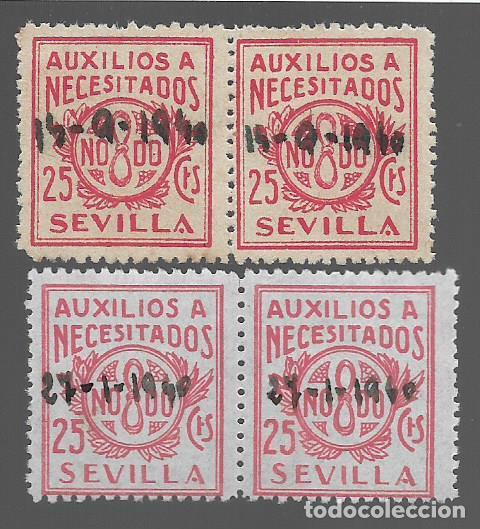 SEVILLA, - VARIEDADES- V DE SEVILLA CHATA Y EN PICO.- BENEFICOS- VER FOTO (Sellos - España - Guerra Civil - Locales - Usados)