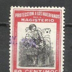 Sellos: 2802M-SELLO FISCAL PROTECCION HUERFANOS MAGISTERIO 1939 SELLO REPUBLICANO CON HABILITACION NUEVA SOB. Lote 288137393