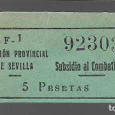 Sellos: SEVILLA, 5 PTAS,- SUBSIDIO AOL COMBATIENTE- Nº GRANDE. VER FOTO. Lote 288137868