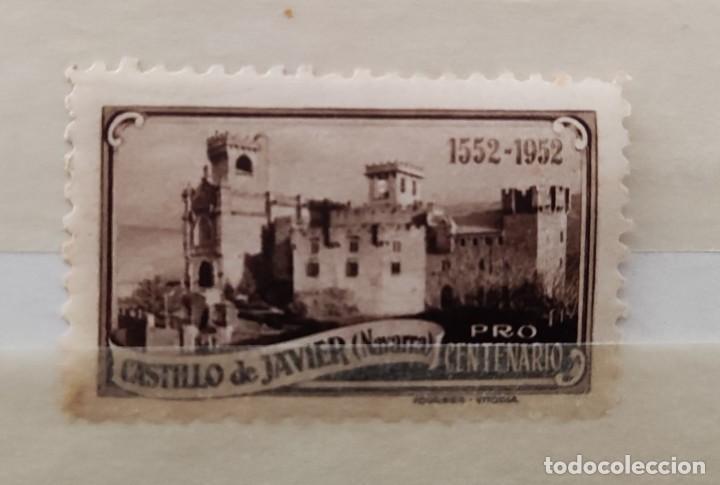 SELLO- VIÑETA CASTILLO DE JAVIER (NAVARRA)- PRO CENTENARIO 1552-1952- FOURNIER- VITORIA (Sellos - España - Guerra Civil - Viñetas - Nuevos)