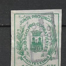 Sellos: ESPAÑA GUERRA CIVIL PONTEVEDRA 10 CTS. USADO - 15/10. Lote 288454343
