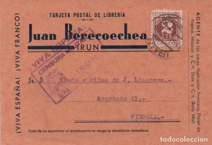 TARJETA COMERCIAL CIRCULADA EN 1938. CENSURA DE IRÚN (Sellos - España - Guerra Civil - De 1.936 a 1.939 - Cartas)