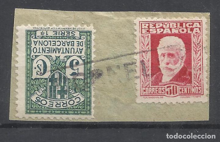 CARTERIA CORNELLA BARCELONA SOBRE FRAGMENTO (Sellos - España - Guerra Civil - Locales - Usados)
