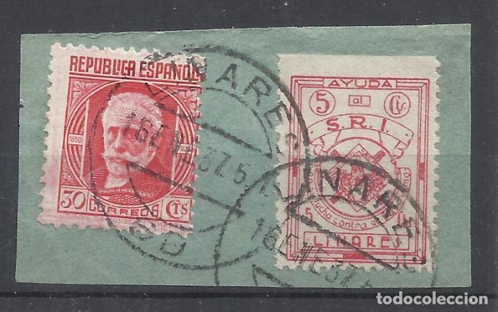 FECHADOR LINARES JAEN CON SELLO SOCORRO ROJO INTERNACIONAL SOBRE FRAGMENTO (Sellos - España - Guerra Civil - Locales - Usados)