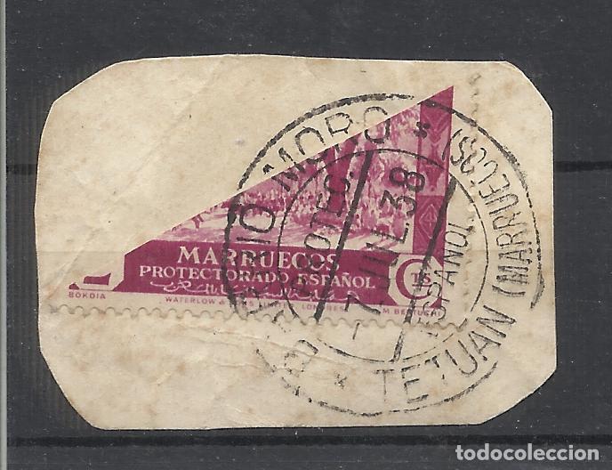 FECHADOR BARRIO MORO DE TETUAN MARRUECOS OCUPACION ESPAÑOLA BISECTADO SOBRE FRAGMENTO (Sellos - España - Guerra Civil - Locales - Usados)