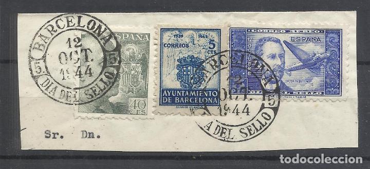 BARCELONA DIA DEL SELLO 1944 CON SELLO LOCAL Y DR THEBUSSEM SUPONGO (Sellos - España - Guerra Civil - Locales - Usados)