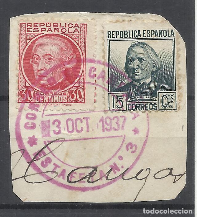 CORREO DE GUERRA ESTAFETA NUMERO 3 DE CAMPAÑA SOBRE FRAGMENTO (Sellos - España - Guerra Civil - De 1.936 a 1.939 - Usados)