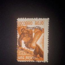 Sellos: SOCORRO ROJO INTERNACIONAL, SOLIDARIDAD 1 PTS. CASTAÑO NARANJA. Lote 288656568
