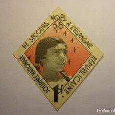 Sellos: BONO-CARTULINA DE AYUDA A LA REPÚBLICA ESPAÑOLA. AÑO 1938, NAVIDAD.. Lote 289028953