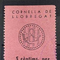 Sellos: CORNELLA DE LLOBREGAT - BARCELONA. ASSISTENCIA SOCIAL. VALOR FACIAL 5 CTS. USADO. SIN CHARNELA.. Lote 289214103