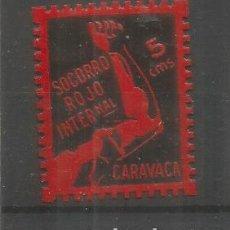 Sellos: GUERRA CIVIL VIÑETA CON CHARNELA CARAVACA SOCORRO ROJO INTERNACIONAL. Lote 289327818