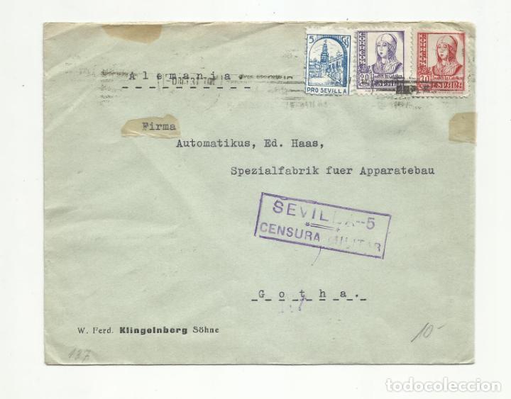 CIRCULADA 1937 DE SEVILLA A GOTHA ALEMANIA CON SELLO LOCAL Y CENSURA MILITAR (Sellos - España - Guerra Civil - Locales - Cartas)