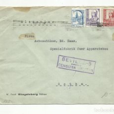 Sellos: CIRCULADA 1937 DE SEVILLA A GOTHA ALEMANIA CON SELLO LOCAL Y CENSURA MILITAR. Lote 289469848